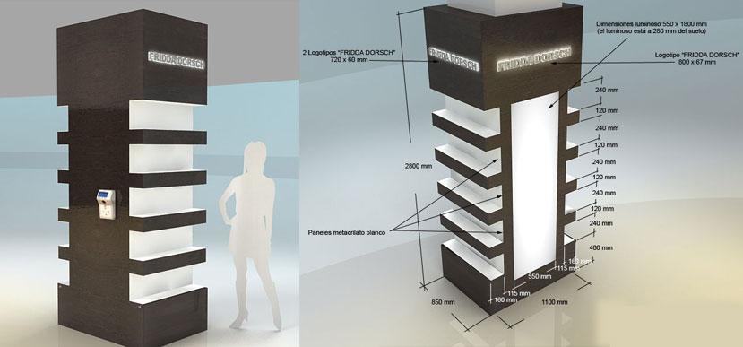 Mueble plv expositor permanente madera laminada luz led - Mueble columna ...