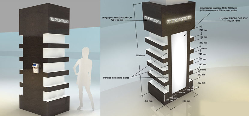 Muebles Para Equipo : Mueble plv expositor permanente madera laminada luz led